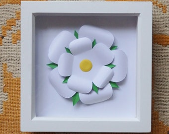Framed Paper White Yorkshire Rose
