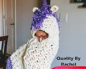 Hooded Unicorn Blanket - Infant to Plus Sizes Available, Customize Your Colors!