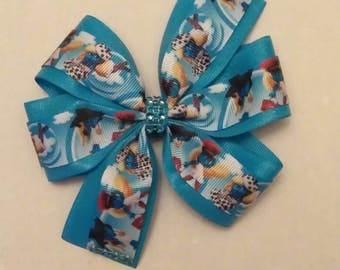 Smurfs inspired hair bow, Smurfette hair bow, 5 inch glitter hair bow
