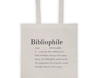 BIBLIOPHILE Reading-Books-Read-Literature-Fiction Natural Canvas 100% Cotton Tote Bag-Grocery-Library-Gift-Reusable-Student-School-NEW!