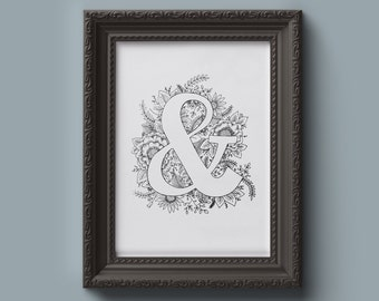 Floral Ampersand Illustration Black and White 8x10 Digital Download: Nursery, Office, Home Decor and Dorm Room Art