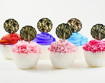 Pattern cupcake picks, pattern  theme cupcake topper, Wedding cupcake picks, Shower cupcake picks