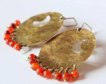 ORIENT Earrings with Red Cornelian Gems