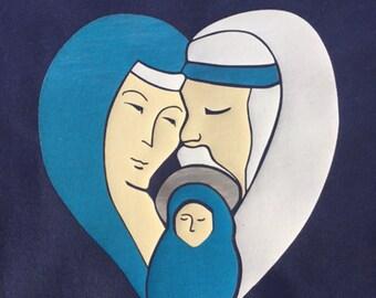 Children's Christmas T Shirt Mary, Joseph and Baby Jesus Nativity Kid's Shirt
