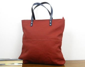 LEATHER TOTE BAG - Leather Tote - Shoulder Bag - Handmade Leather Tote Bag - Large Leather Bag - Top Zip Red Leather Bag