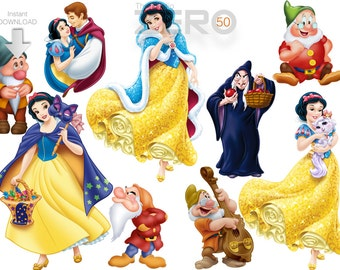 50 Snow White Clipart, 300DPI PNG Images, Instant Download, Printable Iron On Transfer or Use as Clip Art - DIY Disney