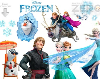 75 Frozen Clipart, Digital Clipart of 300DPI PNG Images, Instant Download, Printable Iron On Transfer or Use as Clip Art - DIY Disney Shirt