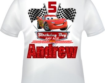YOU PRINT- Cars Birthday Boy iron on, Cars Mommy of iron on, Cars Daddy of T-shirt decal, Lightning McQueen Iron on, Cars T-shirt decal-CARS