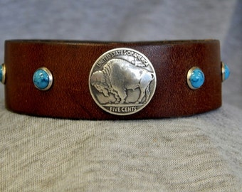 Brown leather bracelet cuff with buffalo nickle concho and turquoise rivets