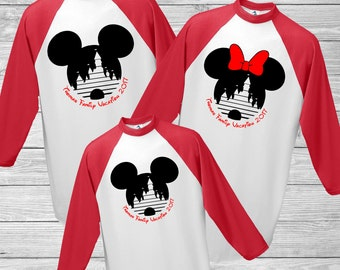 Baseball Disney Family Vacation 3/4 Sleeve Shirt - Mickey & Minnie with Cinderella Castle - Personalized Last Name