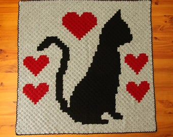 Cat Blanket - Crochet Cat Blanket - Cat Afghan - Lap Blanket - Throw Rug - Handmade Blanket