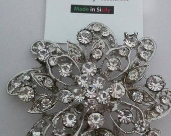 Large flower brooch vintage silver and Swarovski