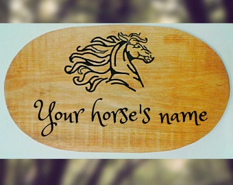 """Shaped Horse stall sign - Custom barn/stable sign - Personalized horse sign - wood sign (1"""" x 10"""" x 18"""") - Horse stall name plate"""