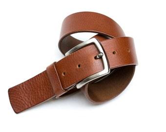 Leather belt - color Cognac - 4 cm - length 88