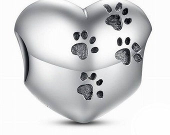 925 Sterling Silver Dog Paw Print Charm Gift for Her, Gift Ideas