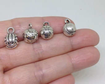 10pcs Volleyball Charm, Softball Charm, Baseball Charm, Basketball Charm, Soccer Charm