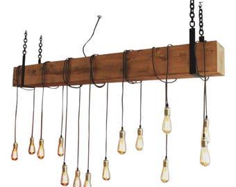 Douglas Bar Chandler, Wooden pendant light, rustic lamp, industrial hanging lamp, handmade