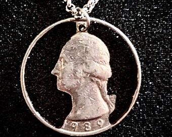 George Washington 1989 American Quarter Cut Coin Necklace Pendant
