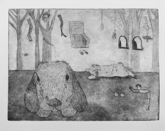 Bunny In the forest print with etching and aquatint limited summerset paper