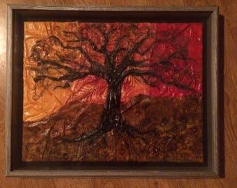 Fabric and Thread Tree Art Framed 21x17
