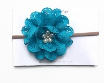 Blue Flower Headband- One Size Fits all Nylon Band- Stretchy Headband - Newborn to teenager
