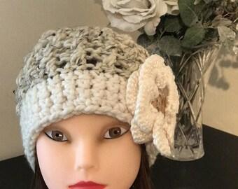 Girls Crochet Hat / Womens Crochet Hat / Winter Hat / Oatmeal / Flower Hat / Winter Fashion