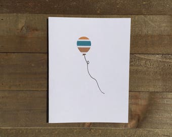 Happy Birthday Card Set / Orange,Blue,Brown Striped Balloon / Birthday Greeting Card / Birthday Invitations