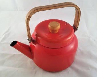 Vintage Camp Red Enamel Tea Kettle
