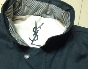 Vintage Yves Saint Laurent YSL lace font logo green long coat hoodie jacket zipper stud Vtg90s Hiphop Gosha Sportwear Casual Streetstyle