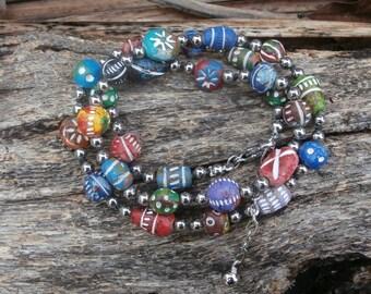 Clay Bead Bracelet, Triple Wrap Bracelet, Unique Beaded Bracelet, Colorful Boho Bracelet, Knotted Bracelet