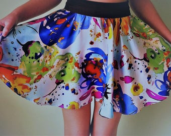 100% Mulberry  Silk Rainbow Skirt/ Teen girls Skirt/ Women's Skirt