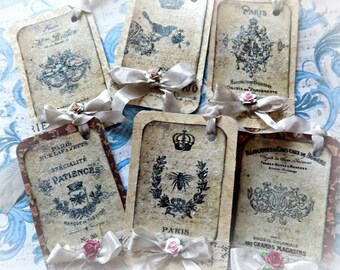 6 French Inspired Hang Tags - Cottage chic - Gift Tag - Flowers Bows