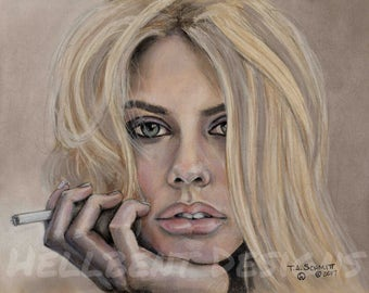 Original Art Print - Smoke Break Painting, Charlotte McKinney, T.A. Schmitt, Artist