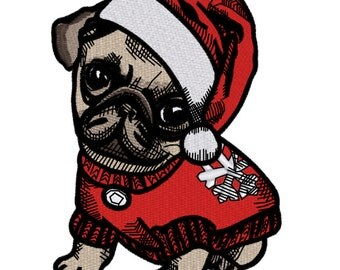 Machine Embroidery Design Puppy Pug - 3 sizes