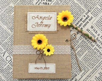 Rustic Wedding Guest Book and Pen Set,Sunflower Wedding Guest Book,Sunflower Pen,Burlap Guest Book for Rustic and Sunflower Wedding.