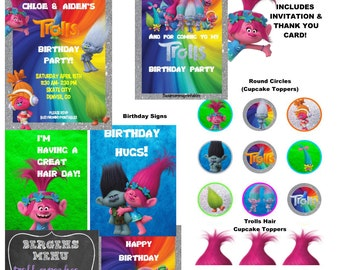 Trolls Inspired HUGE Party Package Printables- Includes Invitation & Thank You + FREE Personalization (Over 20 Items!)