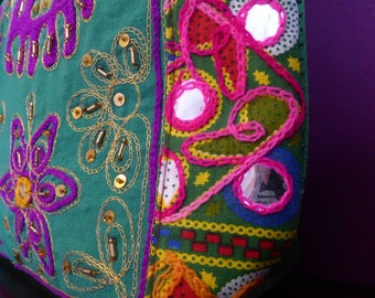 Green hand-embroidered elephant bag