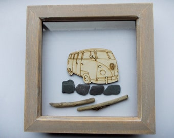 T1 Split Screen Picture -  Etched wood T1 Splittie Camper with Sea Slate and driftwood in distressed wood frame