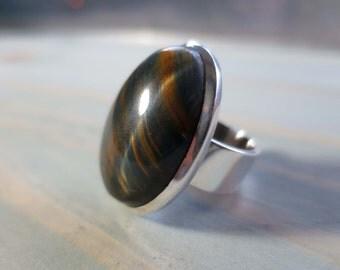 Tiger's Eye Ring in Sterling Silver