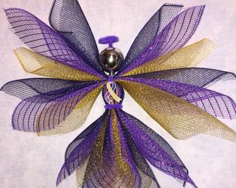 Bladder cancer awareness angel, bladder cancer, awareness angel, deco mesh angel, angel decor, indoor angel, outdoor angel