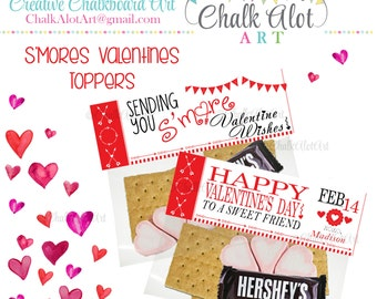 Su0027mores Valentine Treat Bag Toppers, Valentine Favors, Valentineu0027s Day. Smores  Valentines