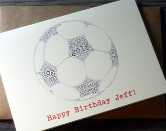 Personalised word art football birthday card – football card - sports birthday card - word art - cards for men, boys, him - football fan