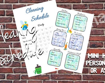 Daily and Weekly Cleaning Schedule fore Mini Happy Planner, Personal and A5 planner