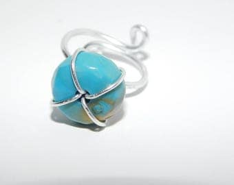 Adjustable Aqua and Silver Ring
