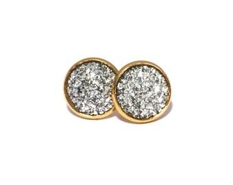 Silver Faux Druzy Drusy Stud Earrings in Gold Setting