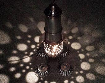 Rocket Lamp found object - Nightlight - Steampunk lighting - Space Age lamp - Mid Century decor - Kids room lamp
