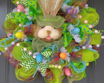 Green Easter Rabbit Wreath, Door Hanger, Door Wreath, Wreath, Spring Wreath