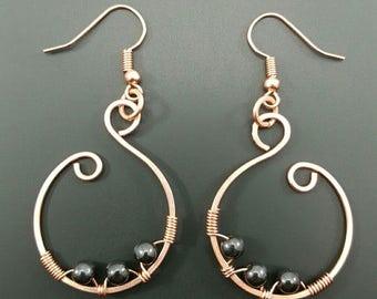 Handmade Hematite Copper Earrings