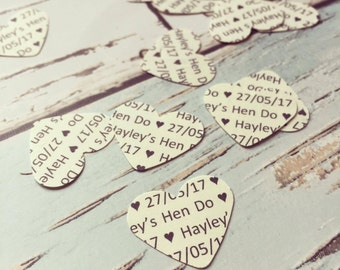 Personalised hen party confetti - hen party, custom paper hearts