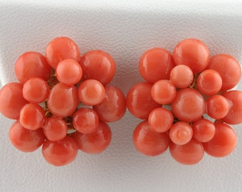 Coral Bead Cluster Clip-On Earrings